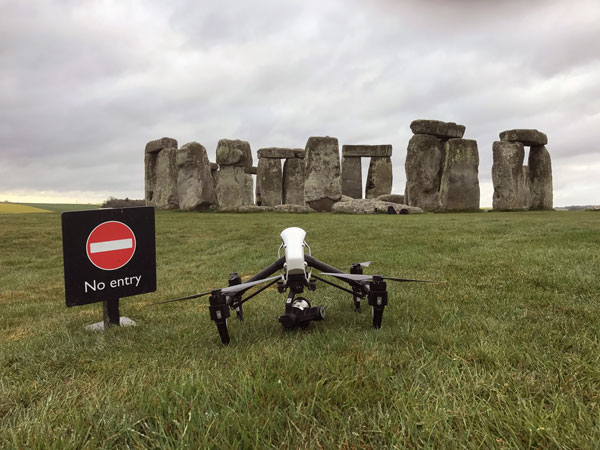 Filming at Stone Henge for French TV