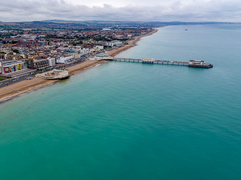 Drone photo of sea front